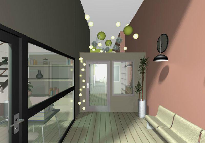 vue depuis le hall d 39 accueil photo de micro cr che lyon archifloor architecte dplg lyon. Black Bedroom Furniture Sets. Home Design Ideas