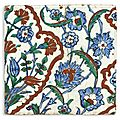 An ottoman tile with flower design, iznik, late 16th-early 17th century