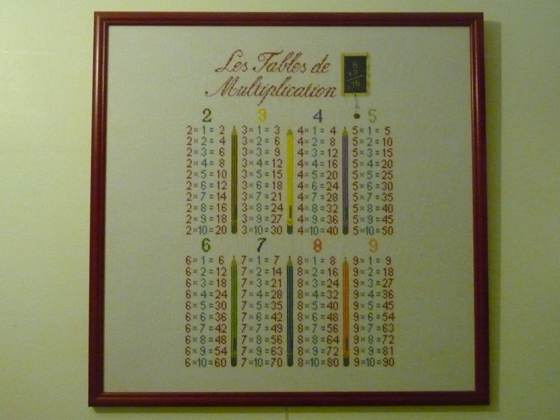Tables de multiplication photo de broderies finies for Table de multiplication par 8