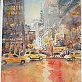 Nouvelle aquarelle de new york, de nuit, sous la pluie