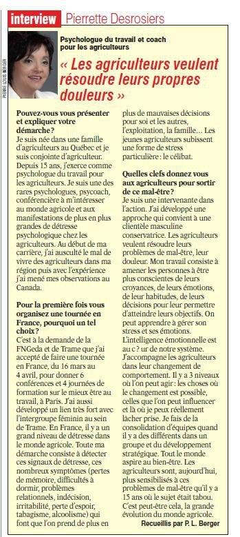 """""""Je vous invite , vous Messieurs, chers agriculteurs, producteurs de la France à venir assister à une de mes conférences[...] """""""