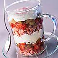 Trifle fraise-rhubarbe au chocolat blanc