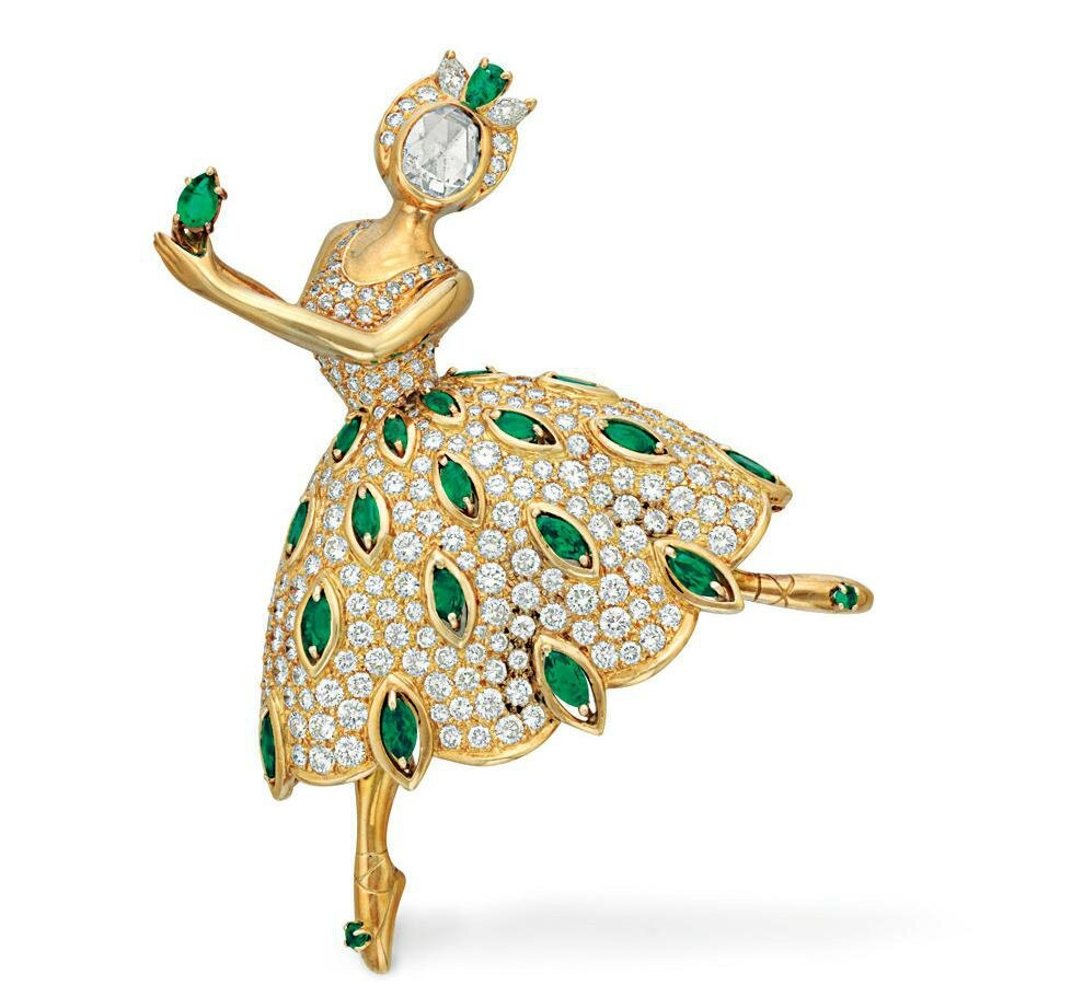 A diamond and emerald 'ballet précieux' brooch, by Van Cleef & Arpels