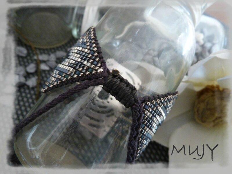 bracelet perles miyuki bleu jean (taille 23) détail fermoir bis