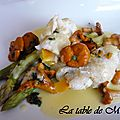Filets de sole à la vapeur, asperges vertes et sauce aux agrumes