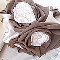 bouquet mariee original ivoire chocolat tissu satiné