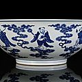 A rare and very large blue and white eight immortals bowl, china, underglaze blue seal mark and period of jiaqing