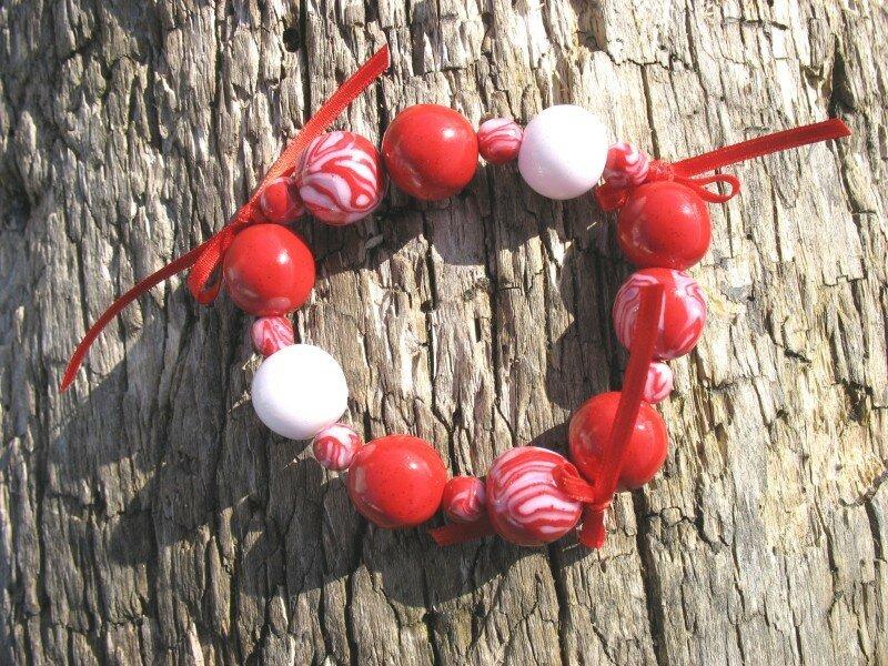 Bracelet ruban rouge