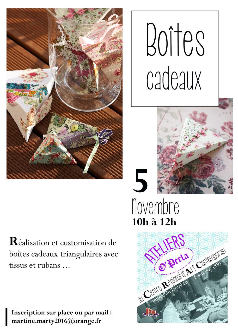 Samedi, atelier Boîtes cadeaux au CRAC...