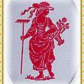 Broderie (La dame au panier fleuri) 9x12,5cm Rouge [1]