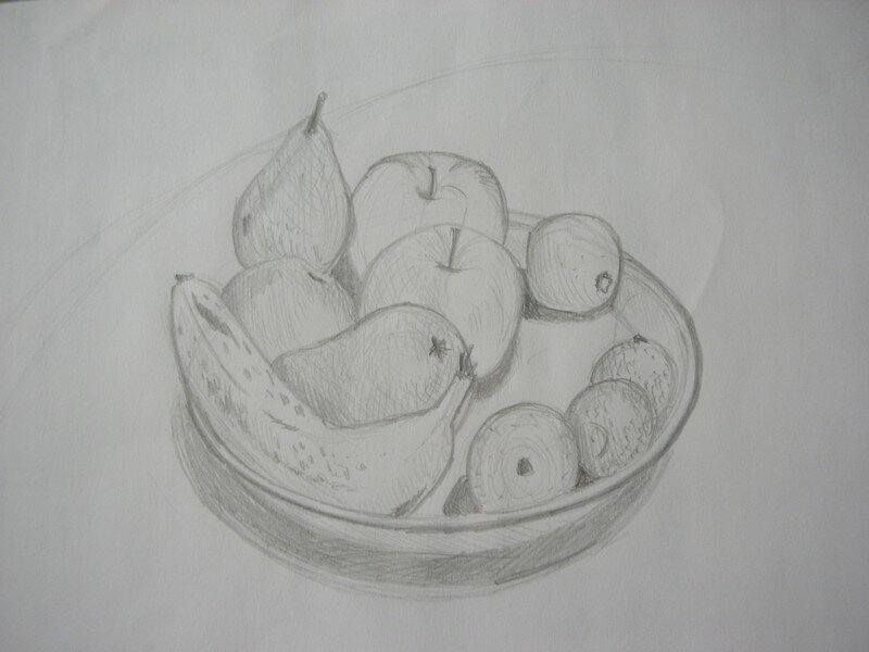 Nature morte aux fruits les pinceaux de malela - Dessin nature morte ...