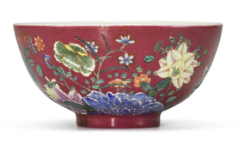 A ruby-ground famille-rose bowl, Early 20th century