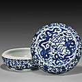 Important wanli mark and of the period blue and white dragon porcelain box and cover