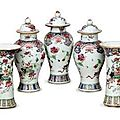 An assembled chinese export famille rose porcelain five piece miniature garniture,mid 18th century.