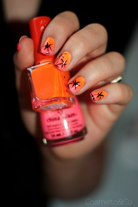 nail art sunset gradient palmier china glace thistle do nicely fluo néo bornpretty-8