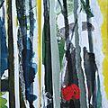 Forêt #2, 2011, acrylique, collage et coulures sur papier, 24 x 32 cm