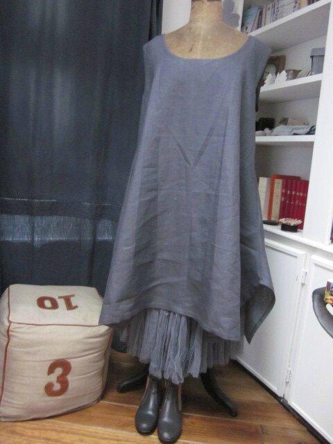Robe EUPHRASIE en lin gris (1)