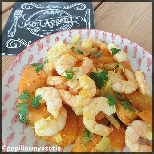 poêlée de patates douces et crevettes