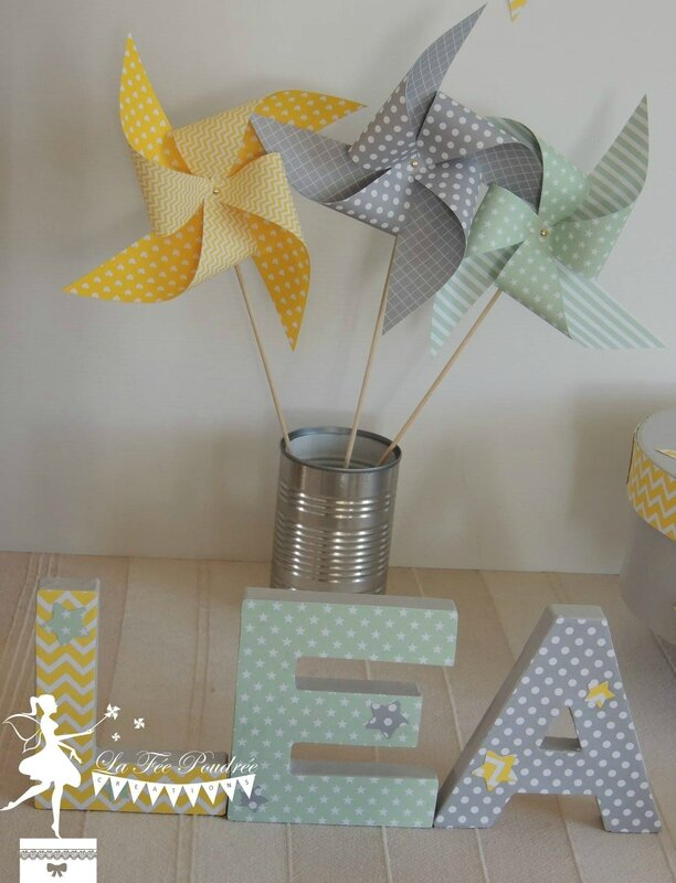 decoration bapteme baby shower theme etoile moulin lettre decoree moulin urne fanion2