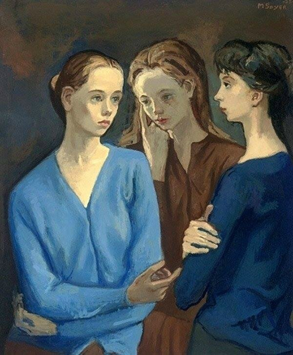 Moses Soyer - Three girls - 1955