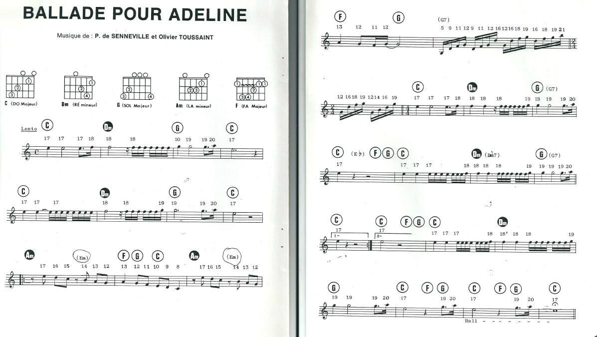 richard clayderman ballade pour adeline sheet music free pdf