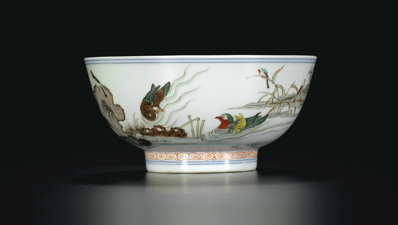 A Famille-Verte bowl with mandarin ducks