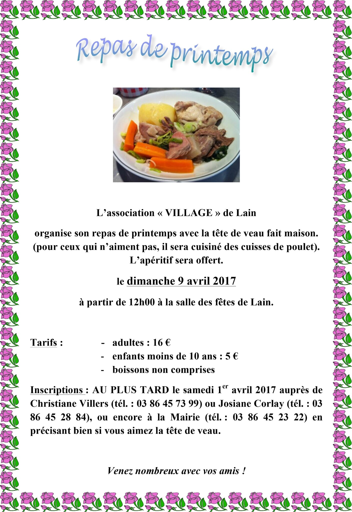 Tête de veau à Lain, dimanche 9 avril ....