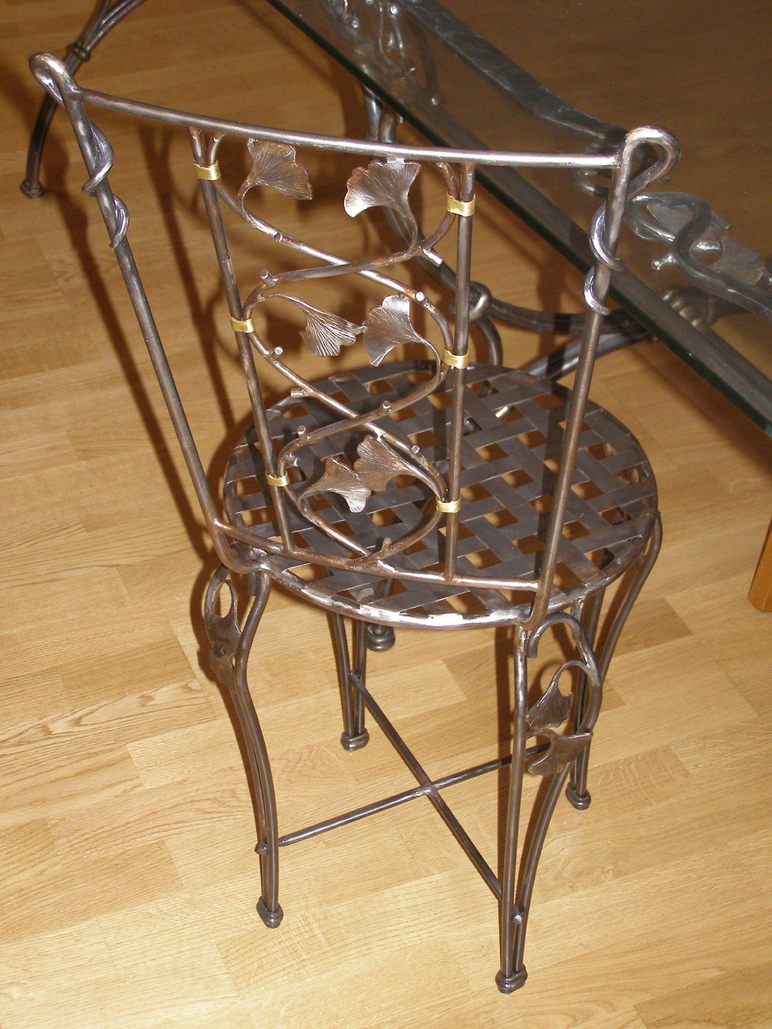 Chaise ginkgo 01 ferronnerie d 39 art rocle - Ferronnerie d art moderne ...
