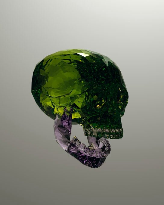 Julien Brunet's gemstone skulls