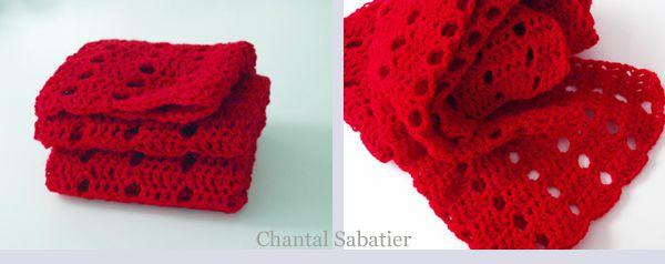 RED SCARF CHANTAL SABATIER