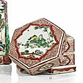 An iron-red, yellow, green and aubergine-glazed hexagonal box and cover, china, ming dynasty, tianqi period (1621-1627)