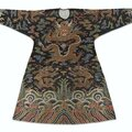 A rare imperial brocaded black-ground semi-formal dragon' robe, jifu, qing dynasty, kangxi period