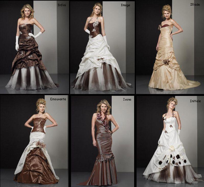 Robe de mariee marron et blanc