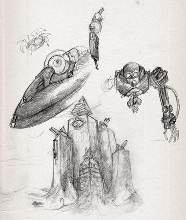 dessin, croquis, post apocalyptique, ville, robot