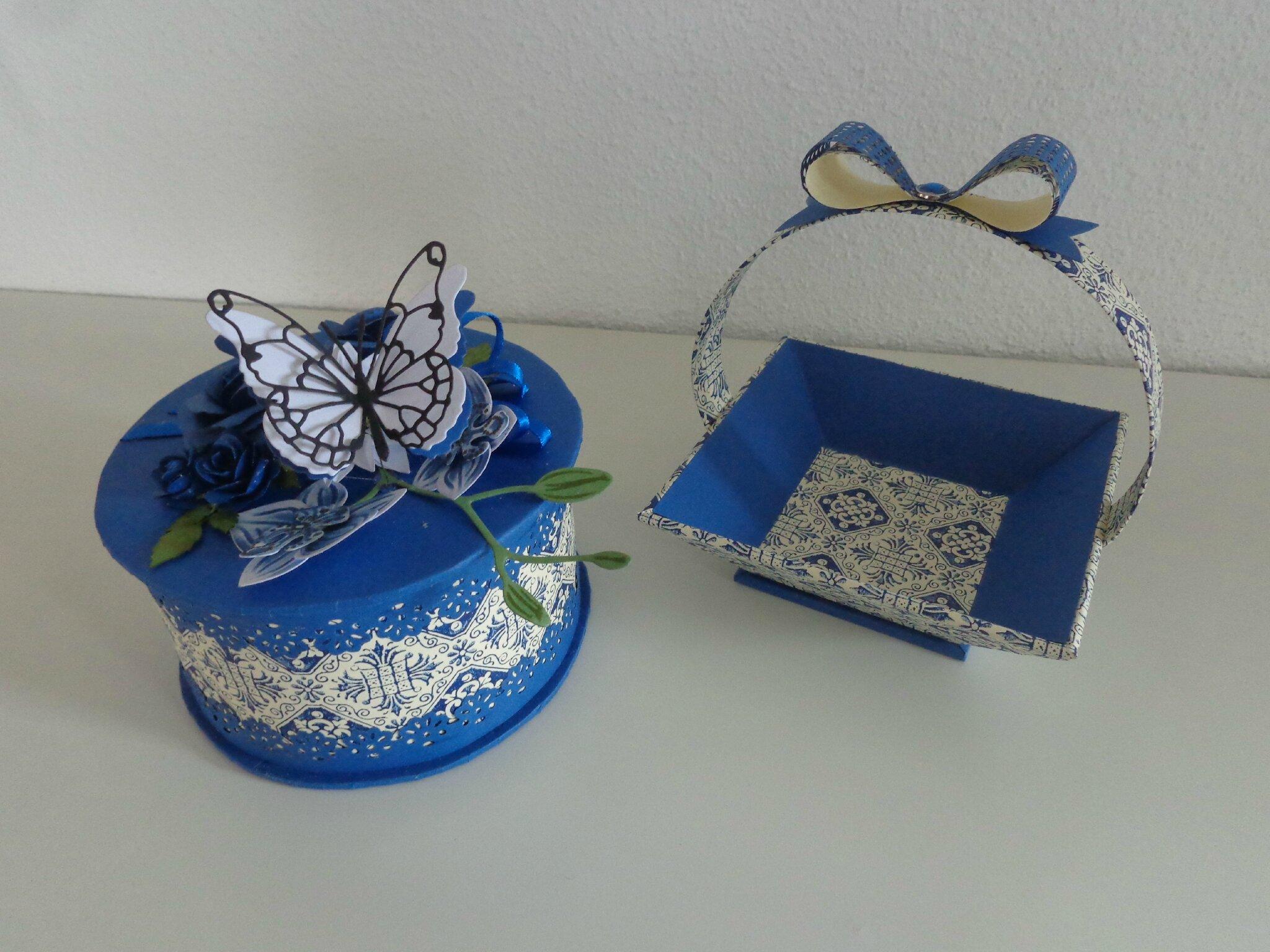 "Duo boite et panier ""bleu"""