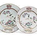 Two large Chinese Export famille rose armorial plates. circa 1740