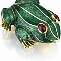 David Webb. An Enamel, Gold and Ruby Frog Brooch
