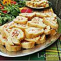 Baguette apéro au chèvre, chorizo et poivron rouge
