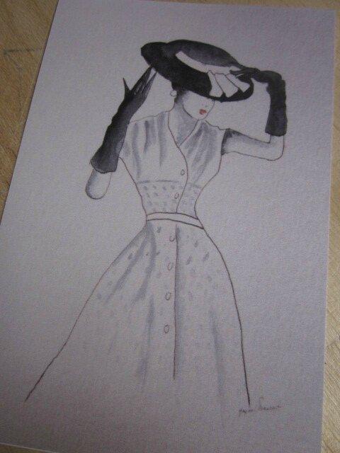 "Carte postale ""La Femme au Chapeau II"""