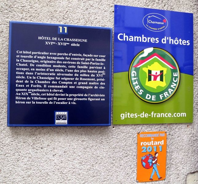Classement Chambres d'hotes chasseigne Nevers
