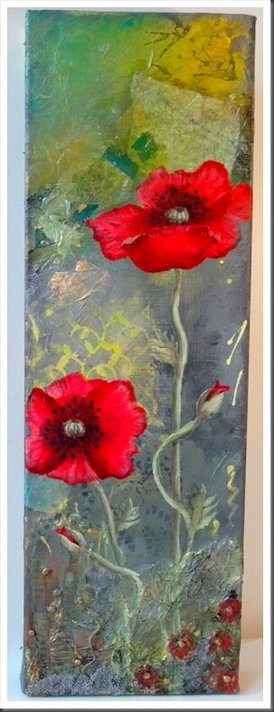 mixed media coquelicots d'été