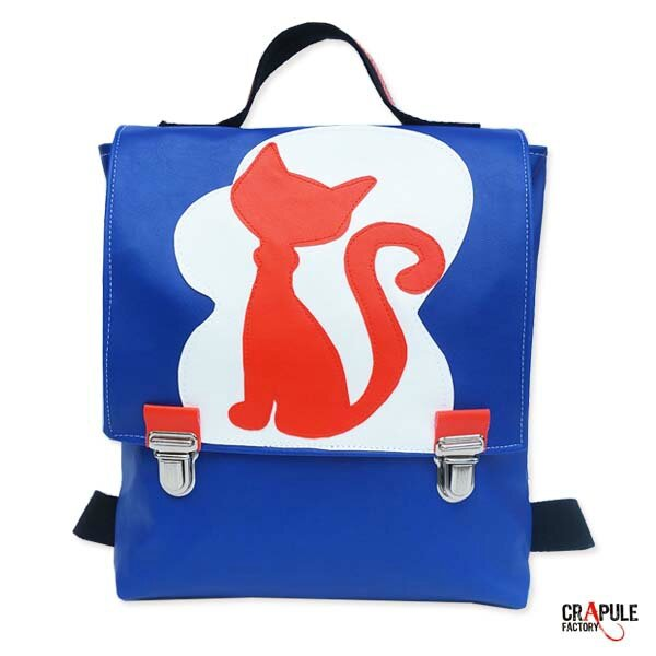 Cartable maternelle /sac à dos /sacoche original pop bleu blanc orange rabat applique Chat fermeture clip Original et beau - fait main - mini série made in france COLLECTION :
