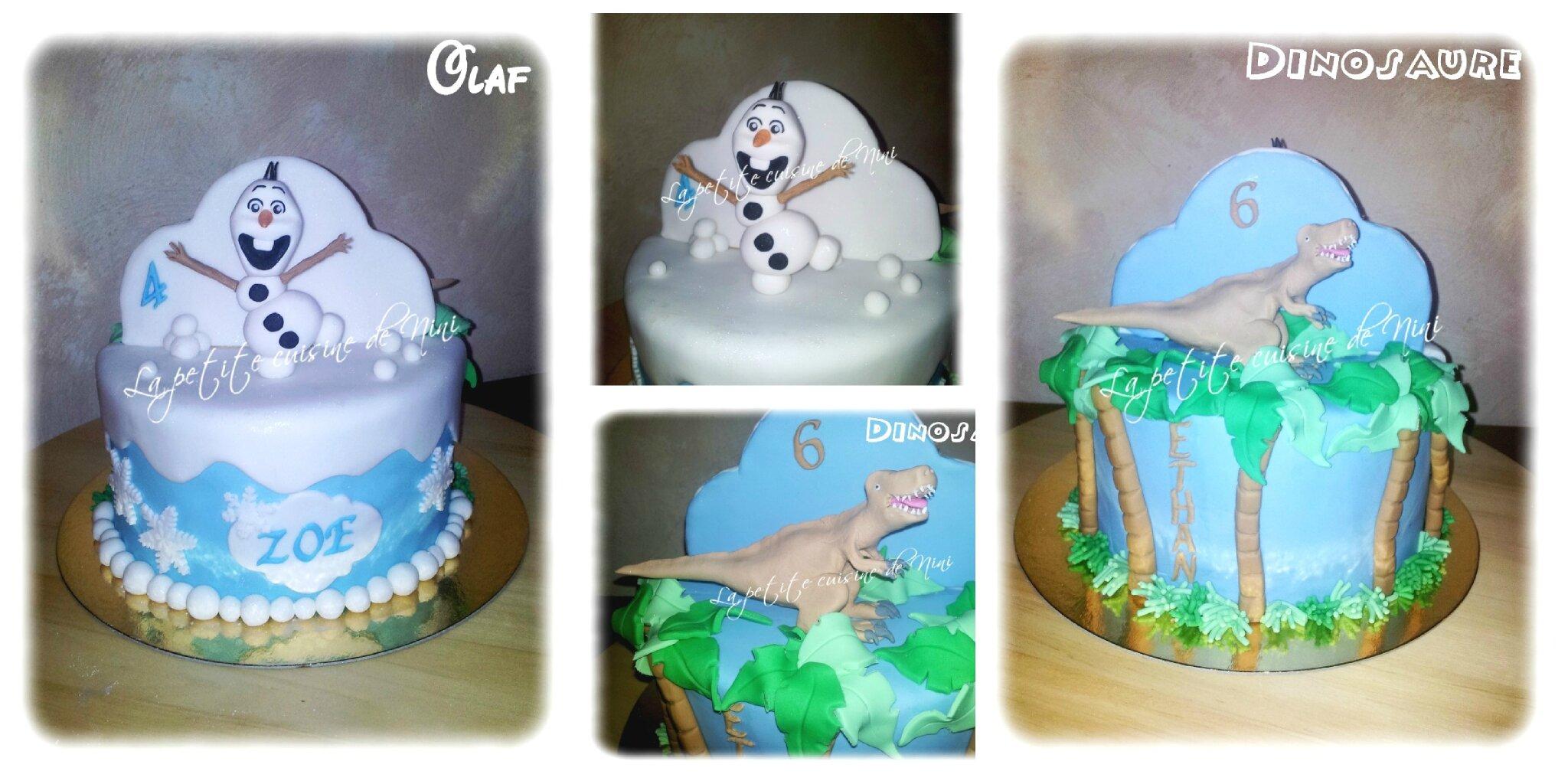 Gâteau d'anniversaire double thème Dino et Olaf