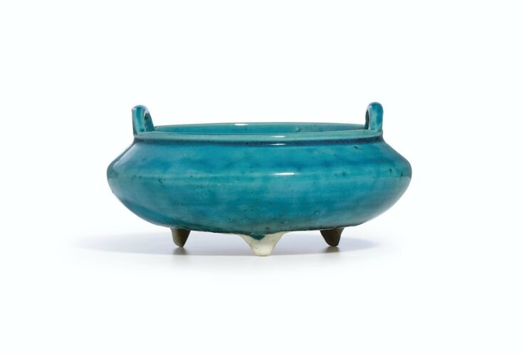 A rare turquoise-glazed tripod incense burner, Mark and period of Yongzheng
