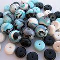 mokume bleu noir blanc et argent
