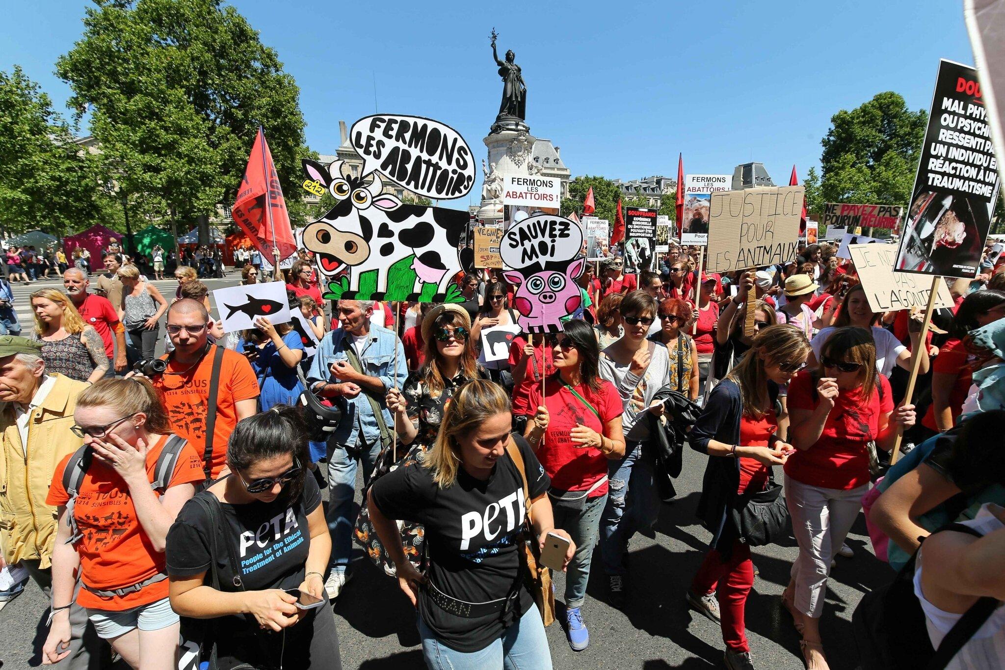 Manifestation à Paris pour la fermeture des abattoirs.