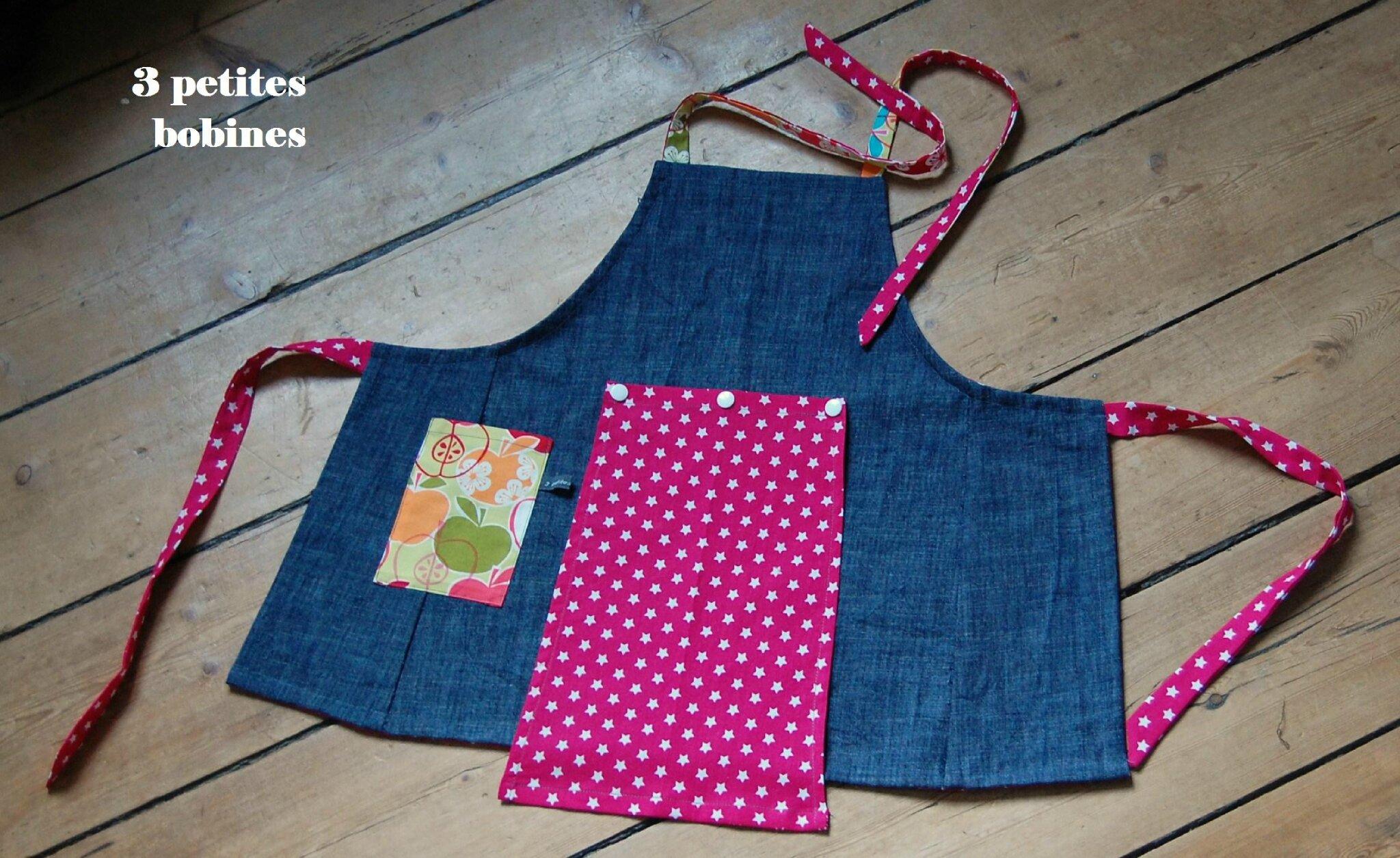 Tablier de cuisine pour enfant 3 petites bobines la for Tablier de cuisine pour petite fille