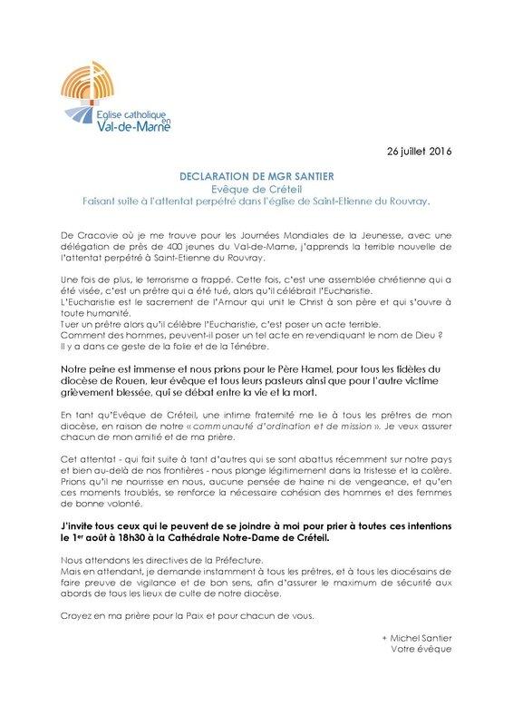 26 07 2016_Declaration de Mgr Santier apres l'assasinat du Père Hamel