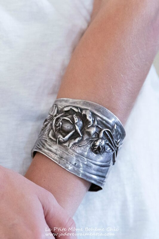 Specialty Jewelry 011 – Rose Cuff-Antique handmade Sterling Silver