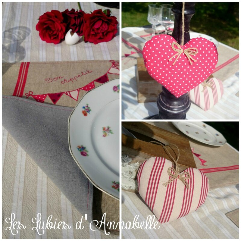 Lot 6 set de table + 3 coeurs chic campagne